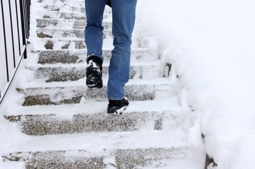 Snowy Steps Posing Risk of Slip and Fall